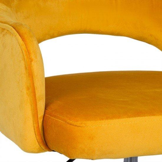 Scaun din catifea pentru birou cu baza aurie OFF 640 galben