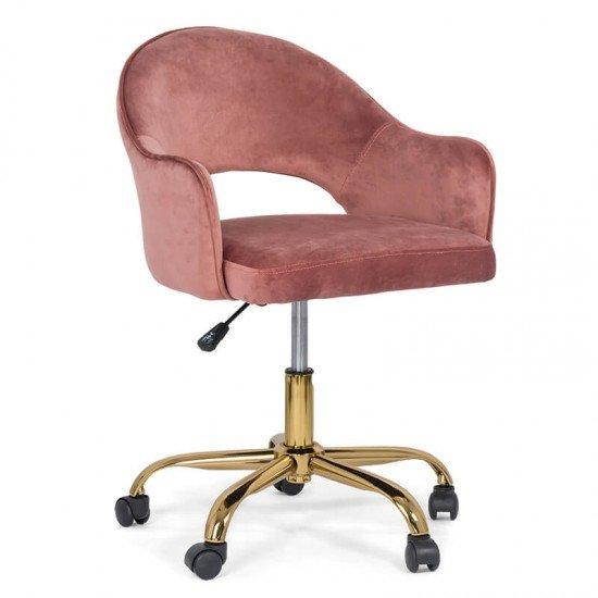 Scaun din catifea pentru birou cu baza aurie OFF 640 roz