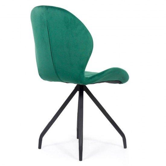 Scaun dining catifea cu picioare metalice BUC 205 verde
