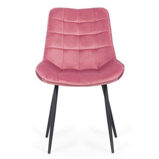 Scaun living din catifea si cadrul metalic  BUC 206 roz