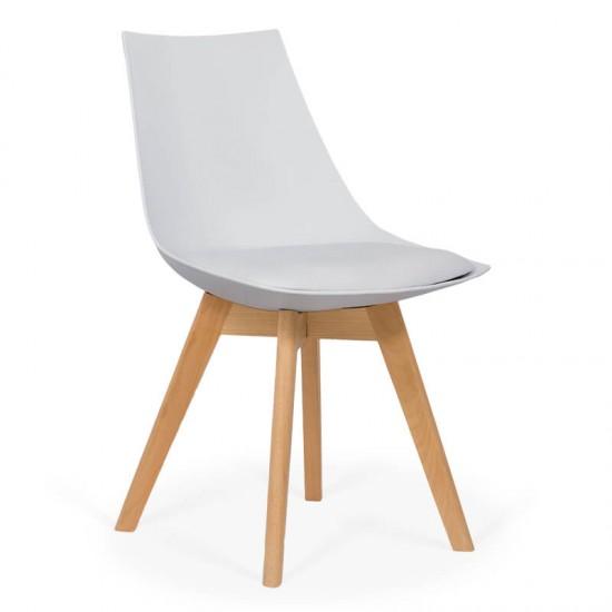 Scaun living cu picioare din lemn BUC 245 alb