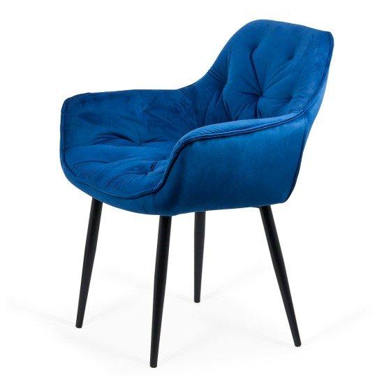 Scaun dining din catifea BUC 257 albastru