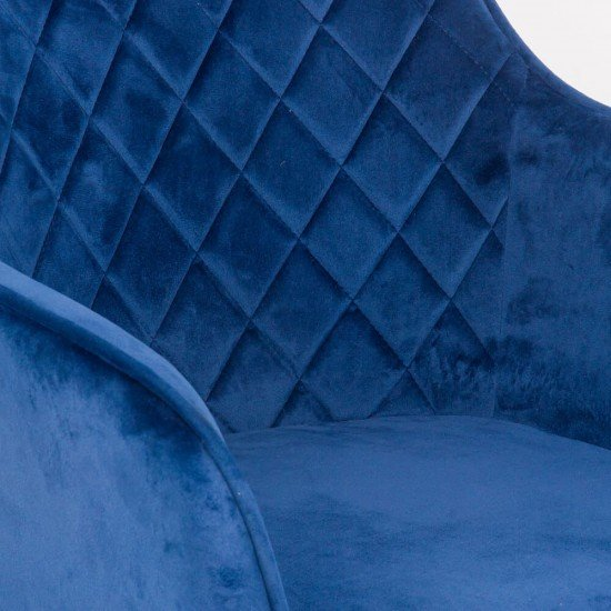 Scaun dining din catifea BUC 258 albastru