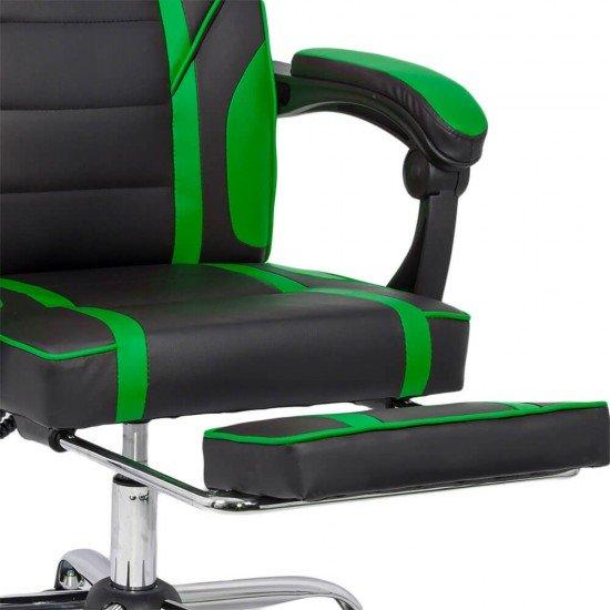 Scaun gaming cu suport de picioare OFF 302 verde