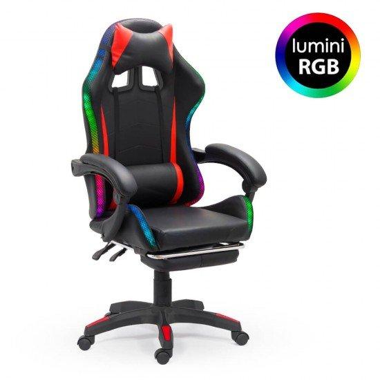 Scaun Gaming cu banda LED RGB OFF 303 rosu cu negru