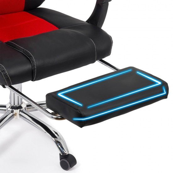 Scaun Gaming de birou cu suport de picioare OFF 3091 rosu