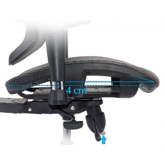Scaun ergonomic multifunctional SYYT 9500 gri cu brate reglabile si sezut culisabil