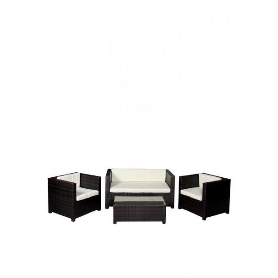 Set canapea, fotolii si mese pentru terasa din imitatie ratan TRS 100
